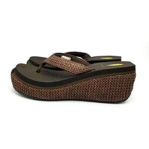 Volatile Audry Flip Flop Sandals Brown Black Wedge